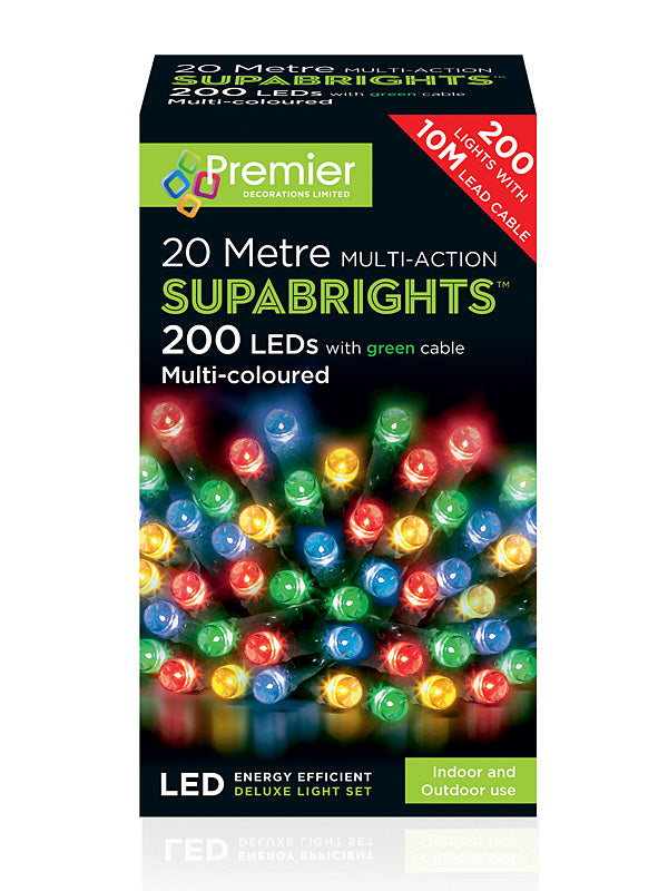 200 LED Multi-Action Supabrights Christmas Lights - Multicolour