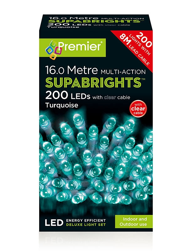 200 Multi-Action LED Christmas Supabrights - Turquoise with Clear Cable