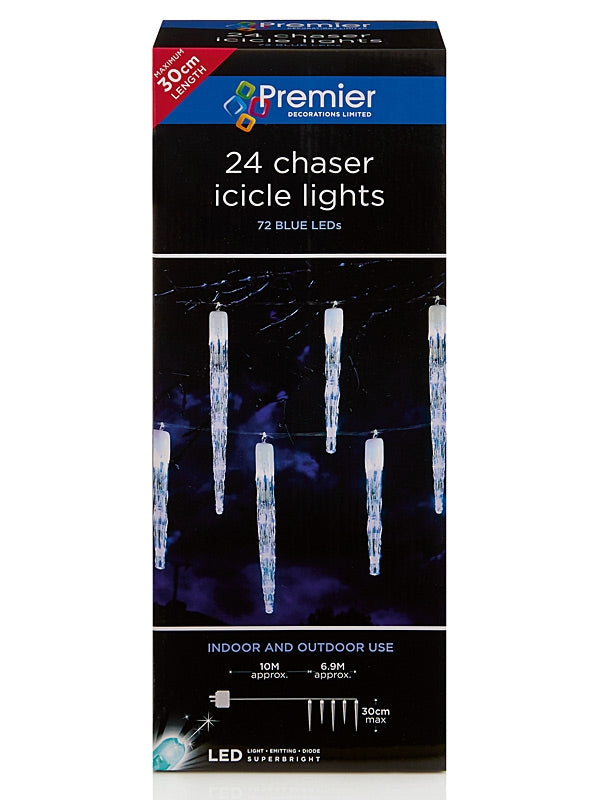 24 Chaser Christmas Icicles with 72 LEDs - Blue