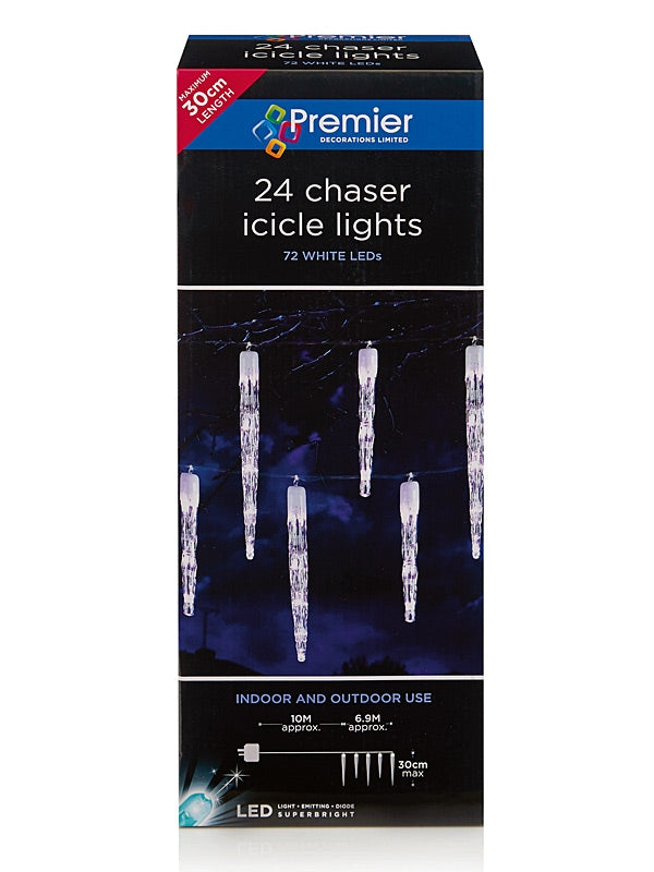 24 Chaser Christmas Icicles with 72 LEDs - White