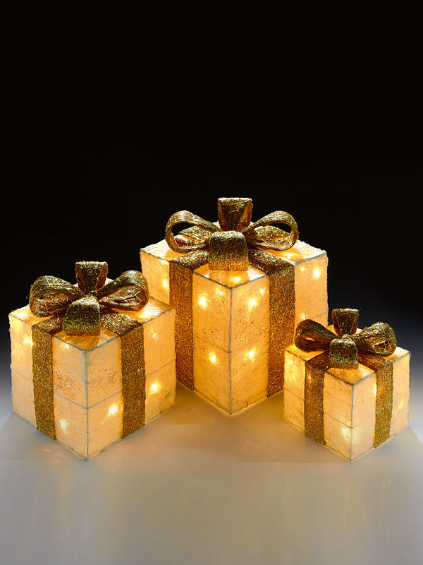 Set of 3 Pre-Lit Christmas Parcels - Cream with Gold Ribbon