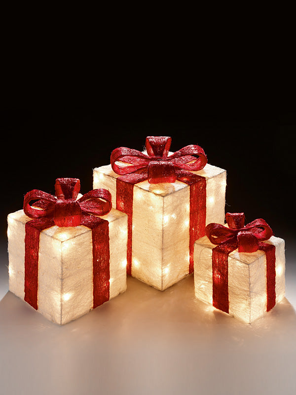 3pc Glitter White Parcels with Red Bow - 40 Warm White LEDs