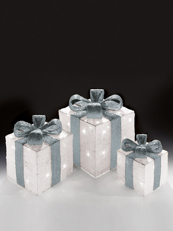 Set of 3 Pre-Lit Christmas Parcels - Pure White with Silver Ribbon