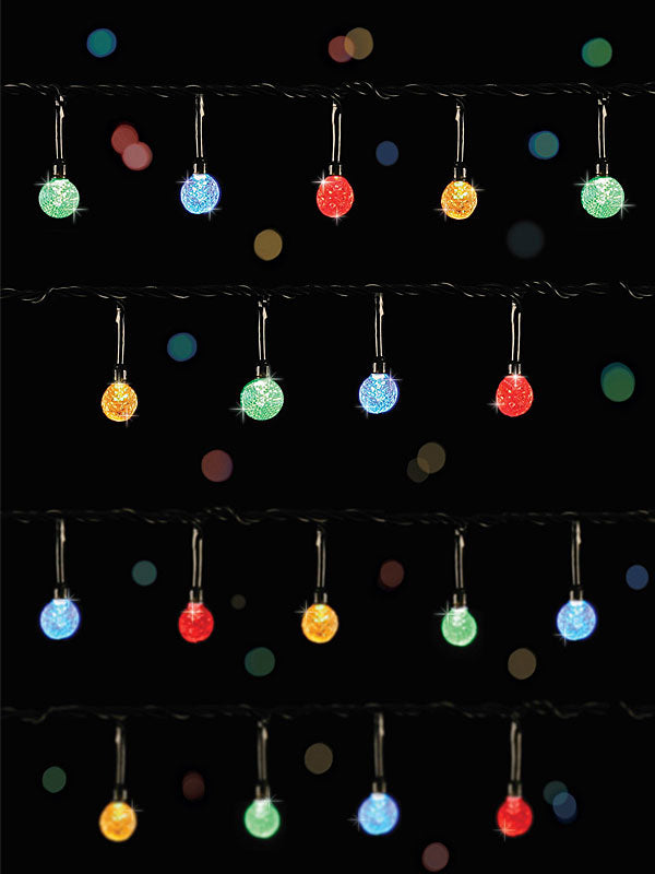 100 Multi-Action LED Faceted Christmas Lights - Multicolour