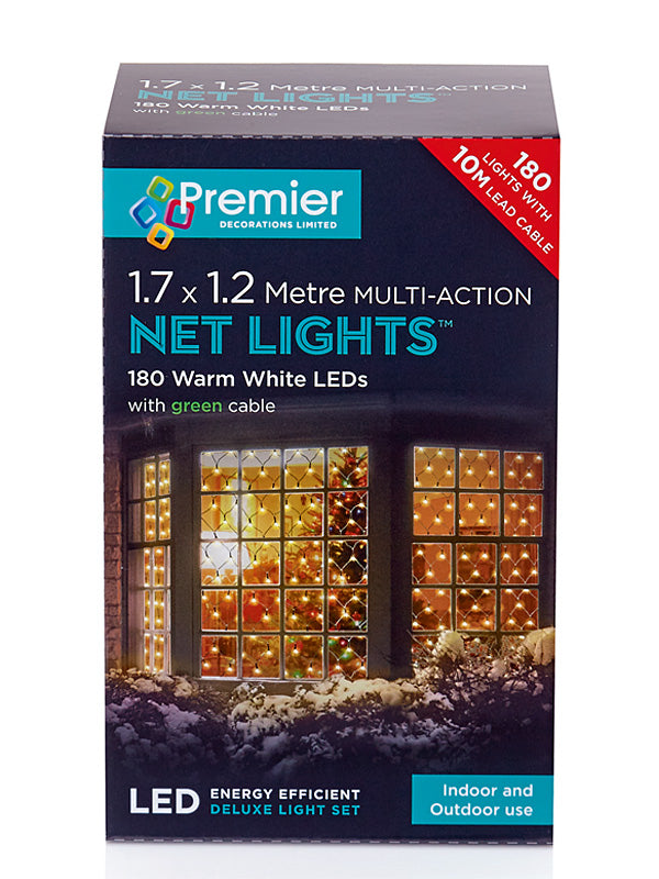 1.75 x 1.2M 180 LED Multi-Action Net Christmas Lights - Warm White
