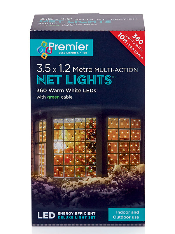 3.5 x 1.2M 360 LED Multi-Action Net Christmas Lights - Warm White