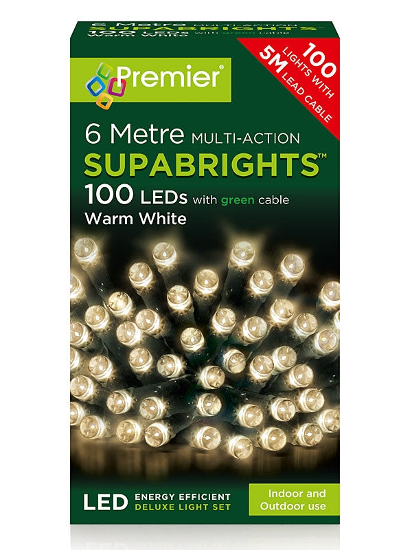100 LED Multi-Action Supabrights Christmas Lights - Warm White