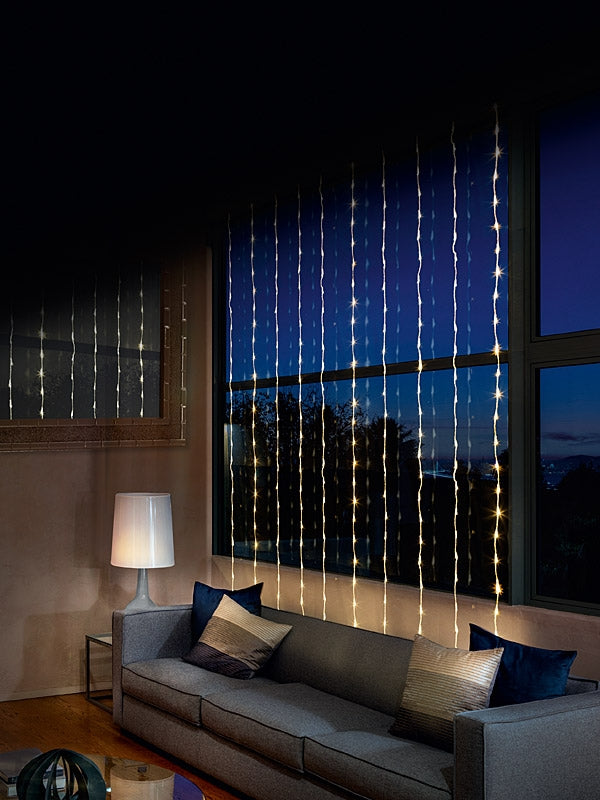 240 LED Waterfall Curtain Lights - Warm White