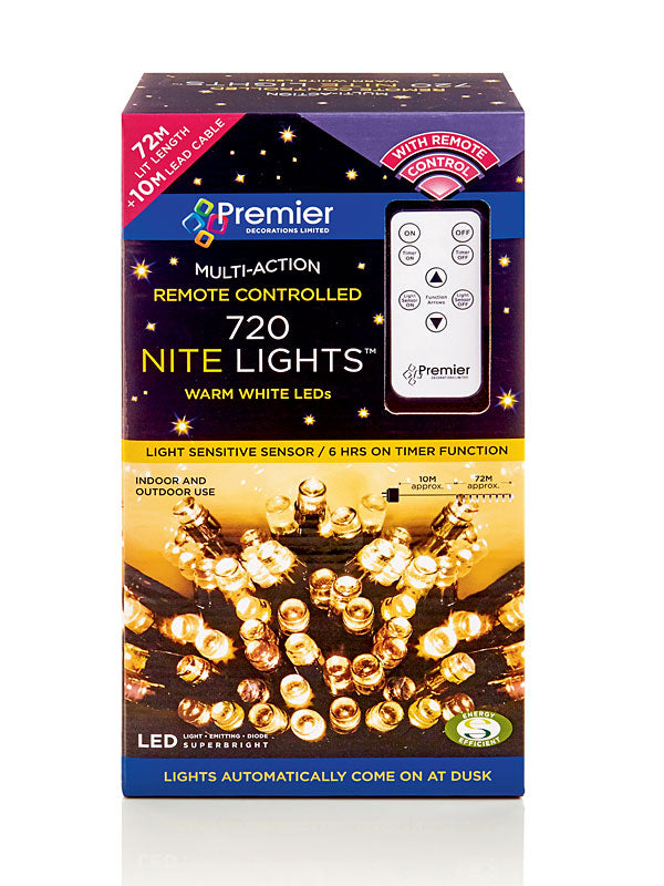 720 LED Multi-Action Nite Lights with Remote - Warm White