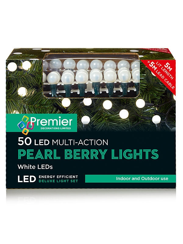 50 Multi-Action Pearl Christmas Lights - White