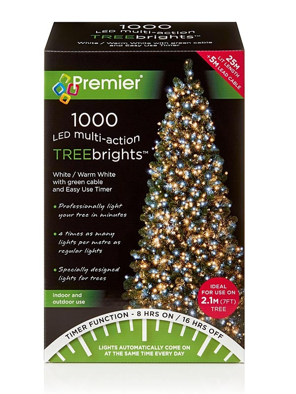 1000 LED Christmas Treebrights with Timer - Warm White & White