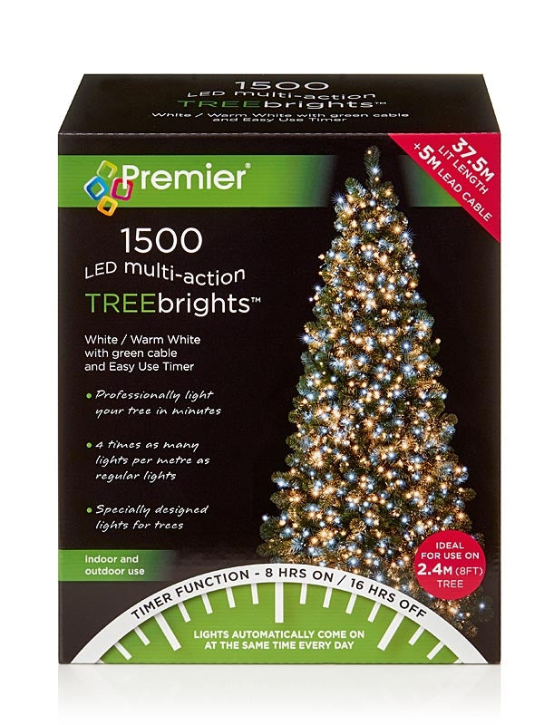 1500 LED Christmas Treebrights with Timer - Warm White & White