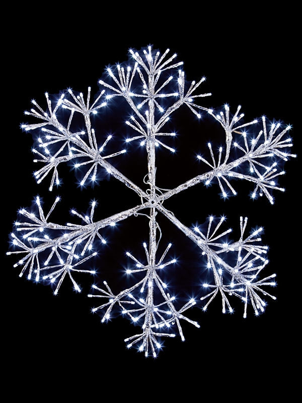 60cm Silver Starburst Snowflake with 300 White LEDs