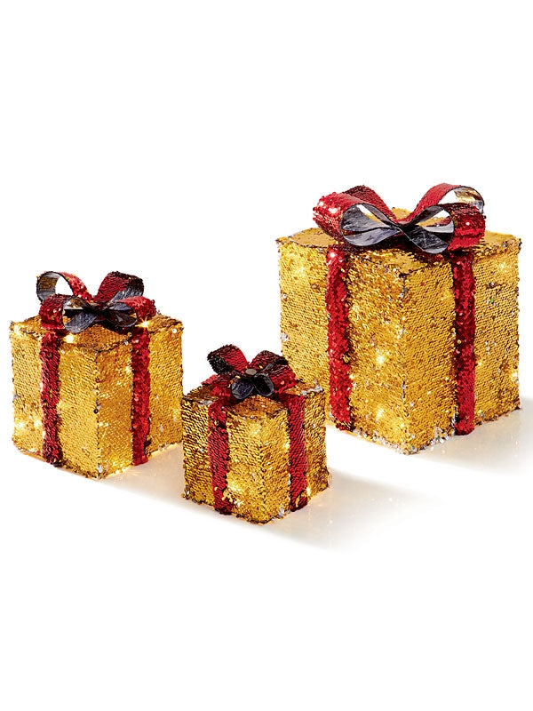 Set of 3 Sequin Parcels Silver-Gold with Detachable Bows & 48 Warm White LEDs