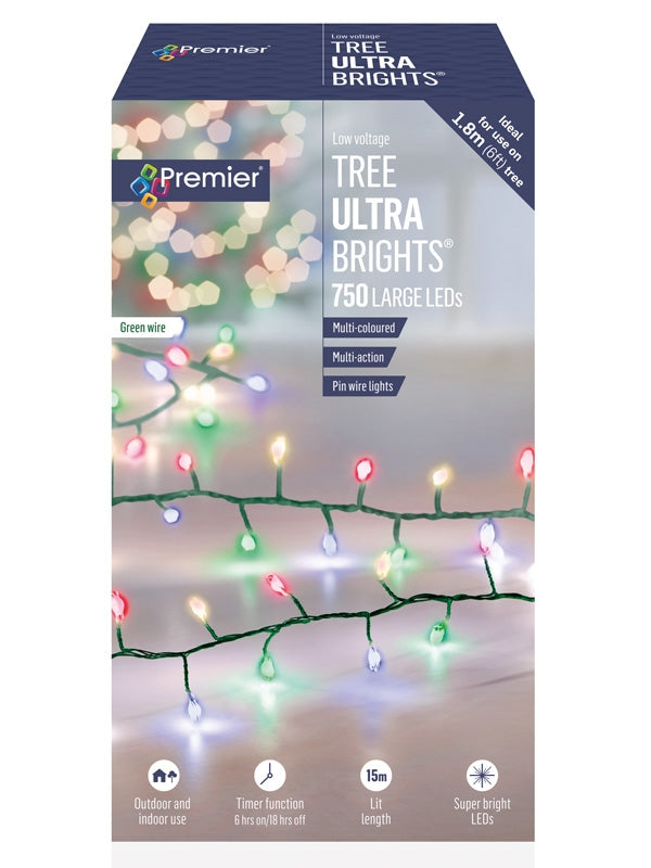 750 Multi-Action Large LED Tree Ultrabrights with Timer - Multicolour