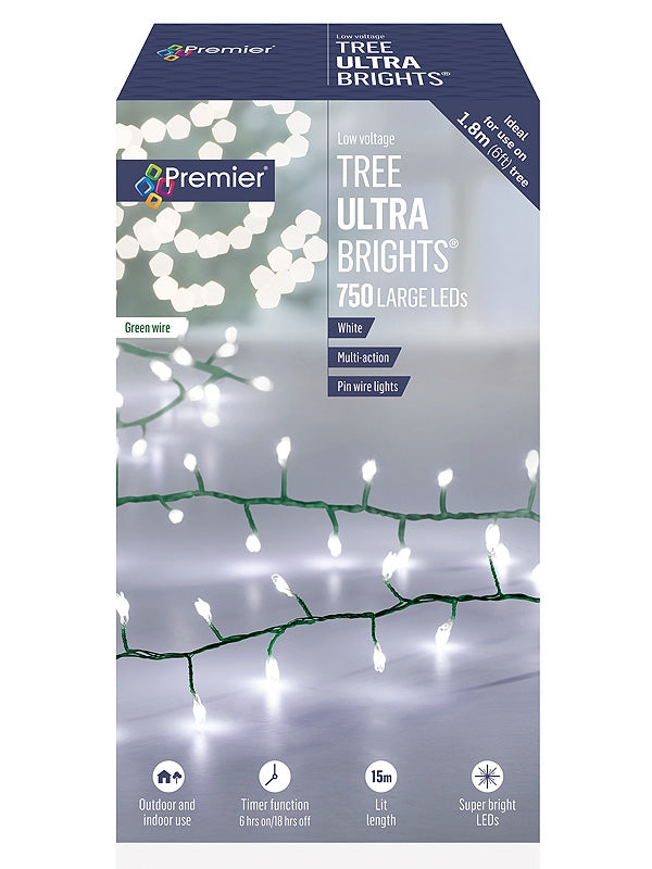 750 Multi-Action Large LED Tree Ultrabrights with Timer - White