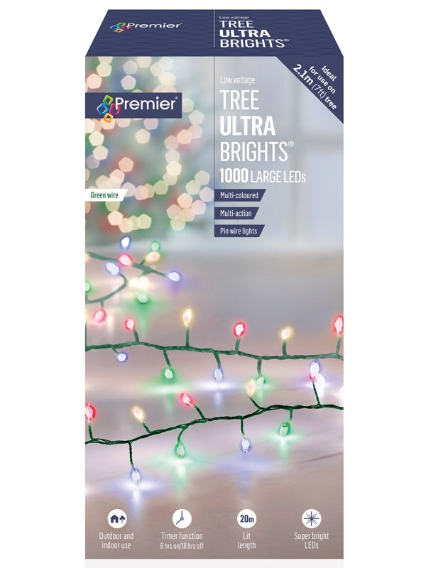 1000 Multi-Action Large LED Tree Ultrabrights with Timer - Multicolour