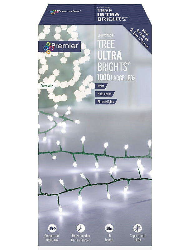 1000 Multi-Action Large LED Tree Ultrabrights with Timer - White