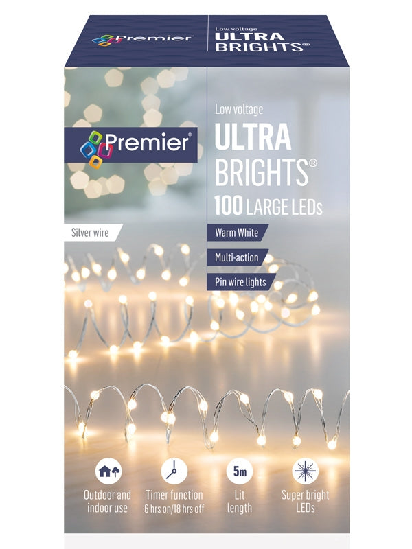 100 Multi-Action Large LED Ultrabrights with Timer - Warm White