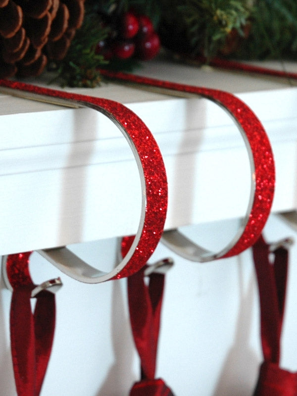 Set of 4 Mantel Clips Glitter Finish - Red
