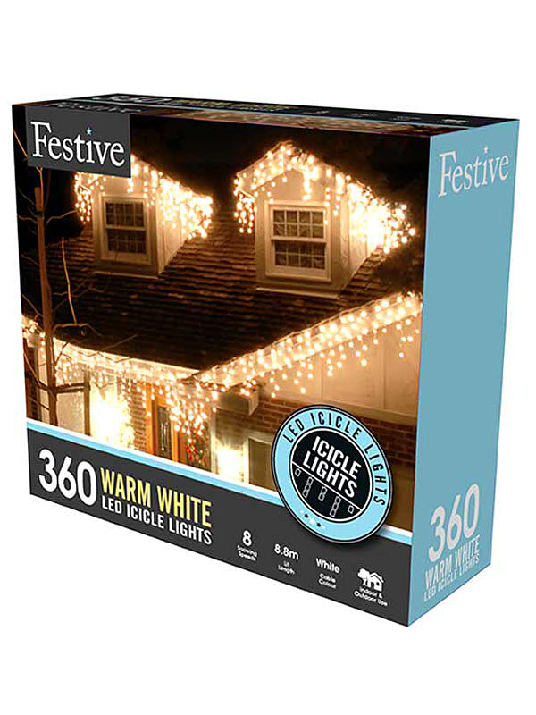 360 LED Snowing Icicle Christmas Lights - Warm White