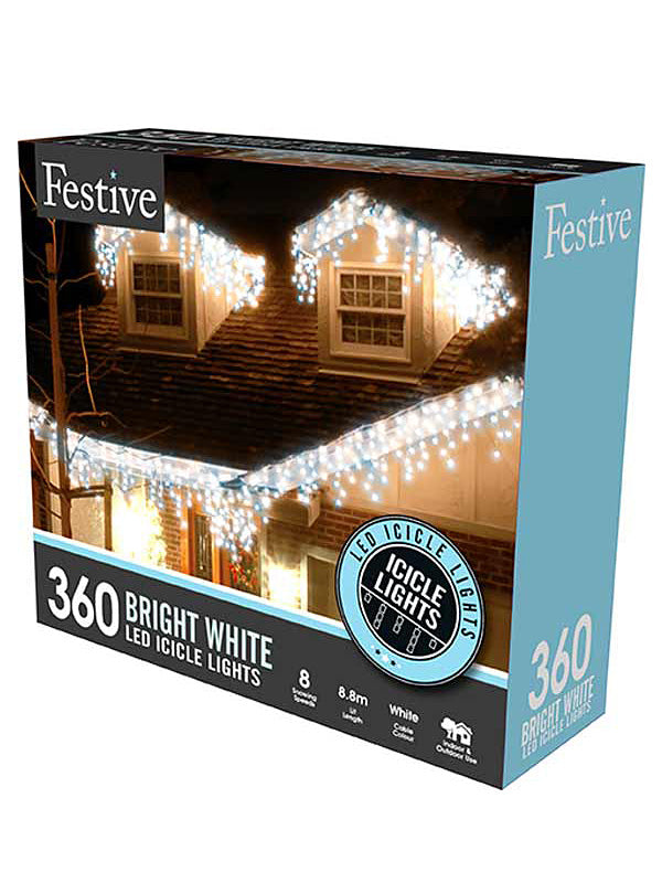 360 LED Snowing Icicle Christmas Lights - White