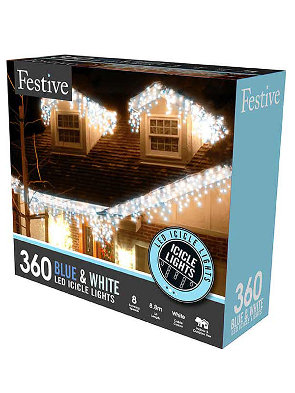 360 LED Snowing Icicle Christmas Lights - Blue & White