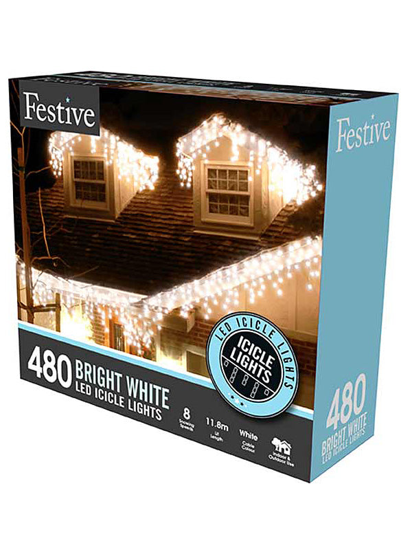 480 LED Snowing Icicle Christmas Lights - White