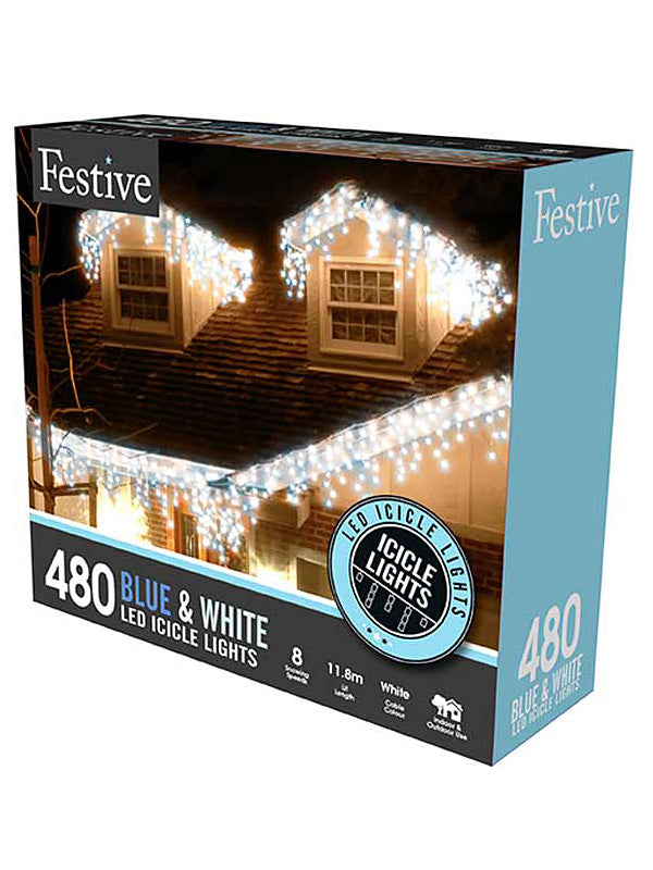 480 LED Snowing Icicle Christmas Lights - Blue & White