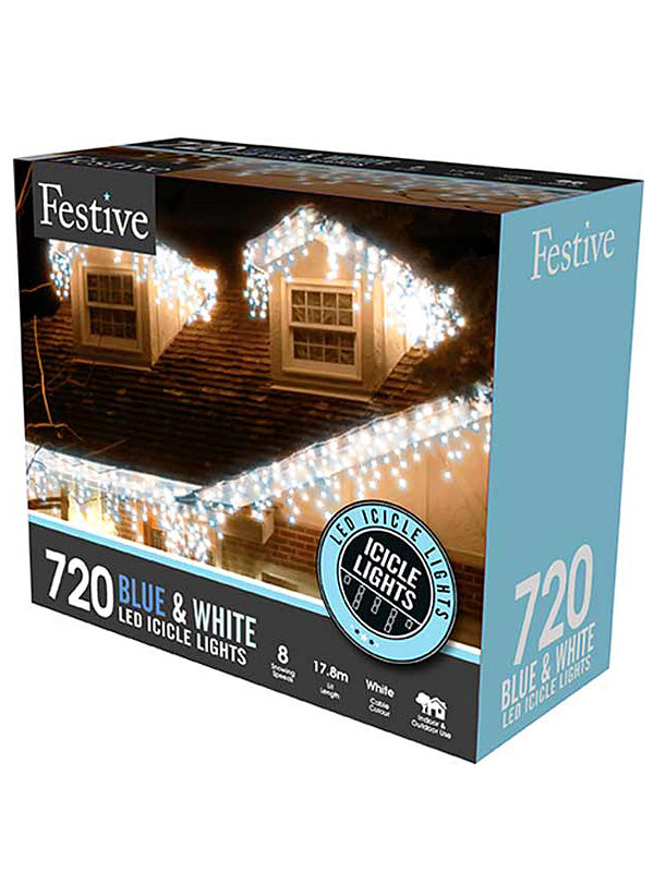 720 LED Snowing Icicle Lights - Blue & White