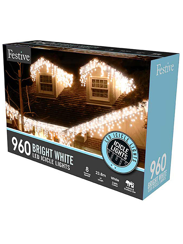960 LED Snowing Icicle Christmas Lights - White