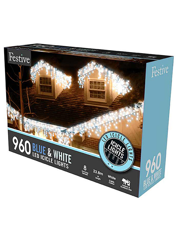960 LED Snowing Icicle Christmas Lights - Blue & White