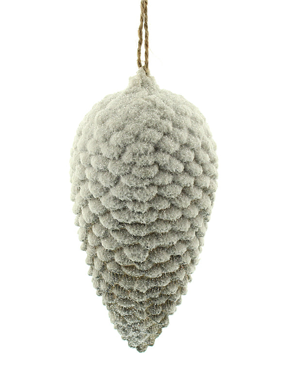 17cm Snow Pine Cone Tree Decoration