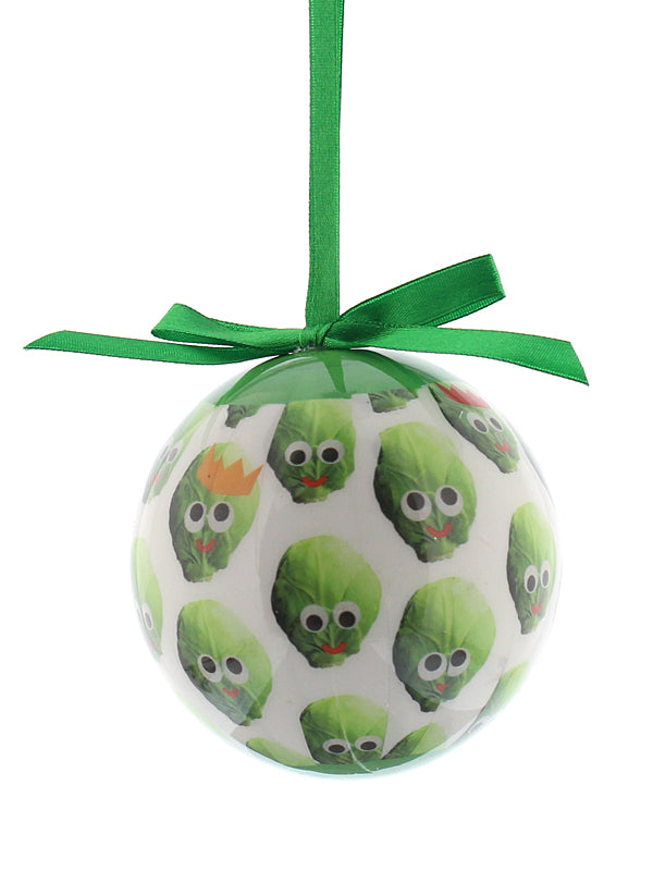 8cm 'Sid The Sprout' With Crown Decoupage Bauble