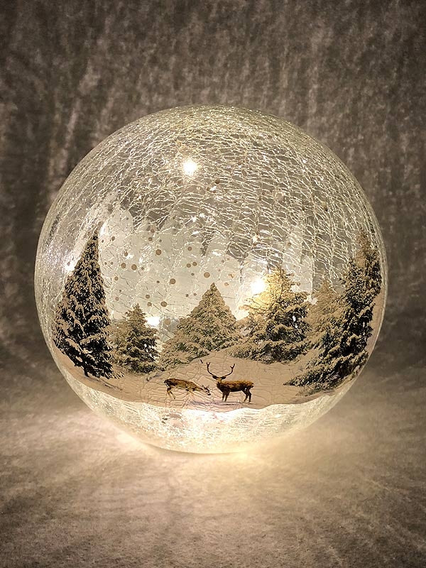 20cm B-O Lit Crackle Effect Forest Scene Ball