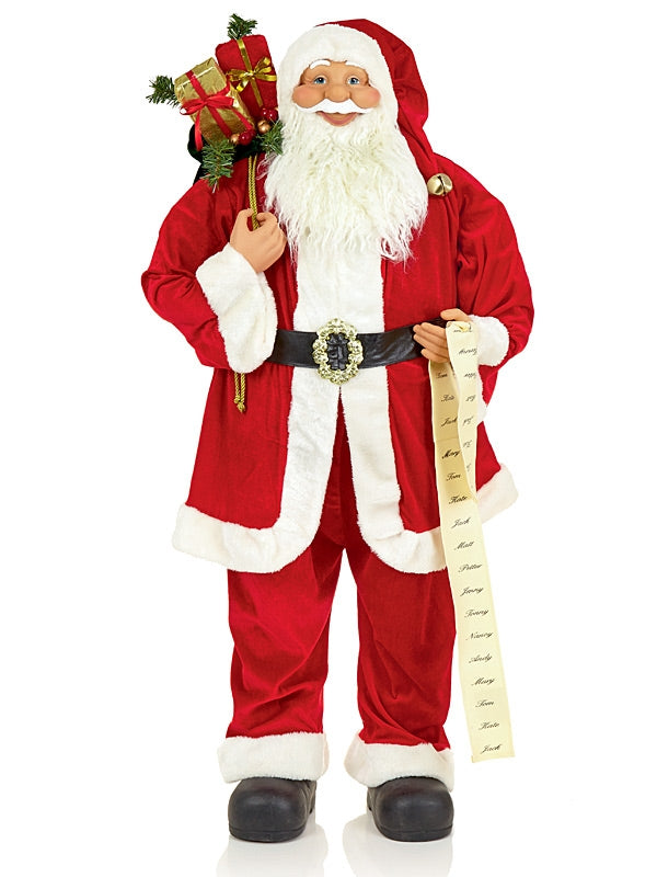 1.8M (6ft) Standing Plush Santa with List & Glasses