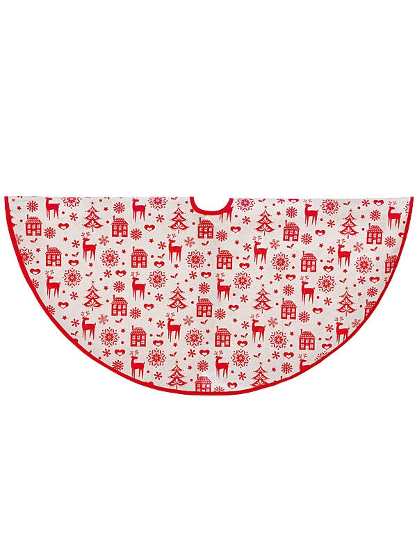 1M Natural Cotton Tree Skirt with Red Deer-House Print