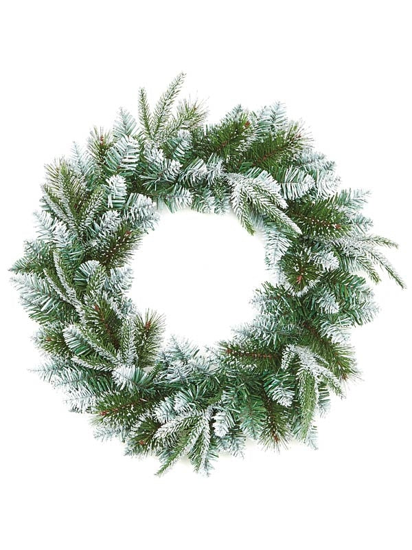 50cm Fairmont Fir Wreath PE-PVC Tips With Silver Glitter
