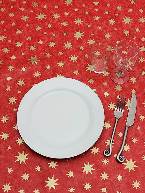 "53"" x 86"" Twinkle Table Cloth - Red-Gold Wipe Clean"