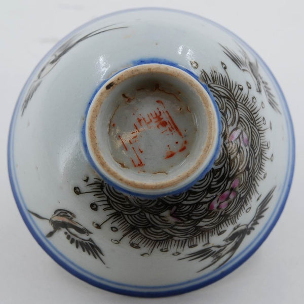 Antique Blue and White Porcelain Swallows Hand-Painted Tea Cup