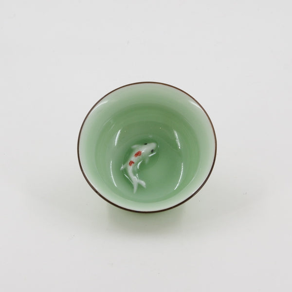 Porcelain Celadon Golden Fish Tea Cup