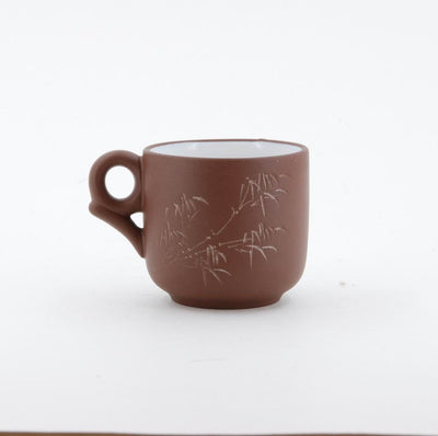 1980's Yixing Clay Tea Cup With Glazed (Bamboo Carving)