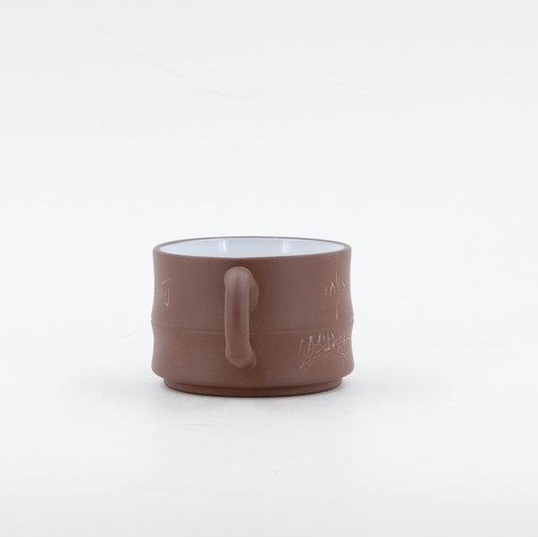 1980's Yixing Clay Bamboo Shape Tea Cup With Glazed