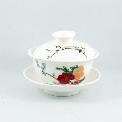 Porcelain Color Peony And Bird Design Gaiwan