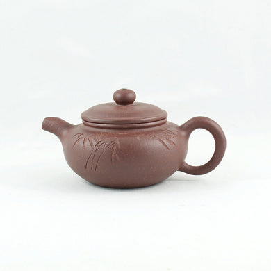 "Yixing Zini ""Fang Gu"" Shape Bamboo Carving Chinese Teapot"
