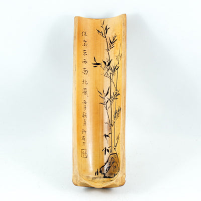 Vintage Bamboo Tea Scoop With Hand-Carved Poem, Bamboo and Rock