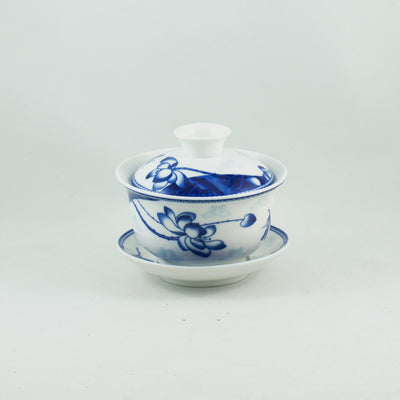Blue and White Porcelain Lotus Design Gaiwan
