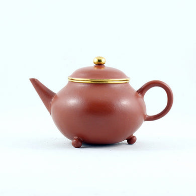 Yixing Zhuni Antique Style Gold Mounted Three Legs Shui Pin Chinese Teapot