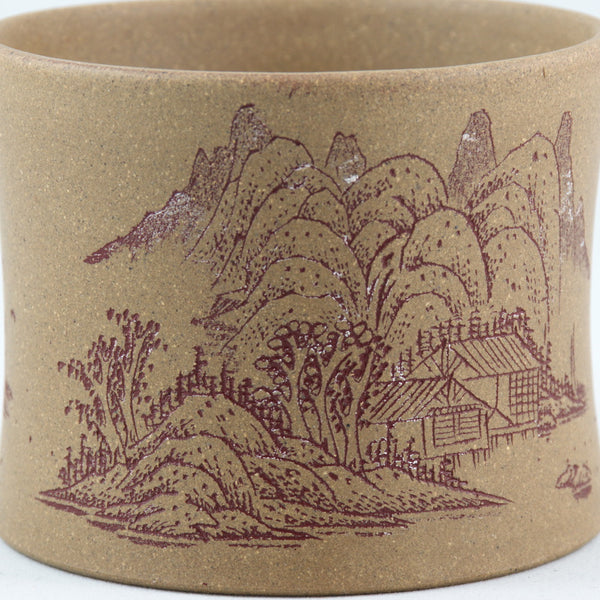 Yixing Clay Duan Ni Tea Cup With Landscape Carving.