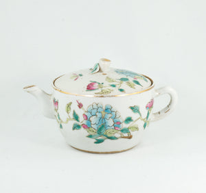 Antique Chinese Famille-Rose Porcelain Flower Design Hand-Painted Teapot